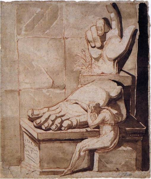 FUSELI John Henry The Artist Moved By The Grandeur Of Antique Fragments